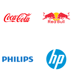 Coca-Cola, Red Bull, Philips, HP logos