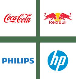 Coca-Cola, Red Bull, Philips, HP logos