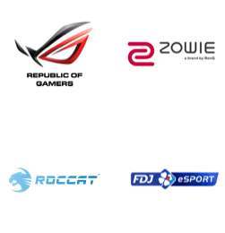 ROG - Republic of Gamers, ZOWIE, ROCCAT, FDJ eSport logos
