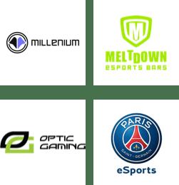 Millenium, Meltdown Esports Bars, OpTic Gaming, PSG eSports logos