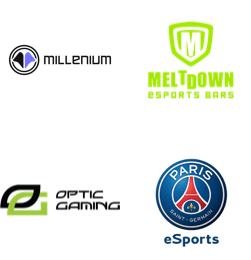 Millenium, Meltdown Esports Bars, OpTic Gaming, PSG eSports logos