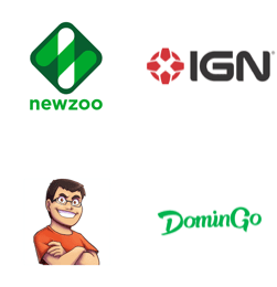Newzoo, IGN, TheAlvaro845, DominGo logos