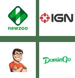 Newzoo, IGN, TheAlvaro845, DominGo logos