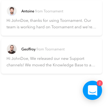 Messages from Toornament staff