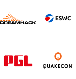 DreamHack, ESWC: Esports World Convention, Professional Gamers League, QuakeCon logos
