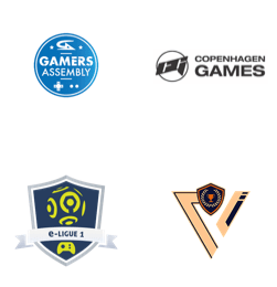 Gamers Assembly, Copenhagen Games, Orange e-ligue 1, Student Gaming Network logos