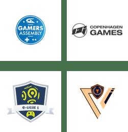 Gamers Assembly, Copenhagen Games, Orange e-ligue 1, Student Gaming Network logos