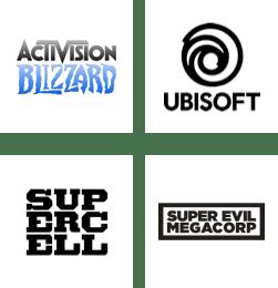 Activision Blizzard, Ubisoft, Supercell, Super Evil Megacorp logos