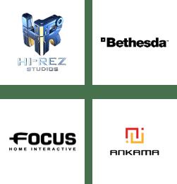 Hi-Rez Studio, Bethesda, Focus Home Interactive, Ankama logos